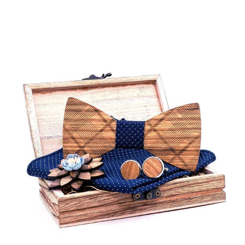 Kravat erkek Ahşap Papyon + Mendil + Kol Düğmeleri + Broş + Kutu Seti Erkek Manuel Ahşap Yay Ties Cep Havlu Korsaj Boyun