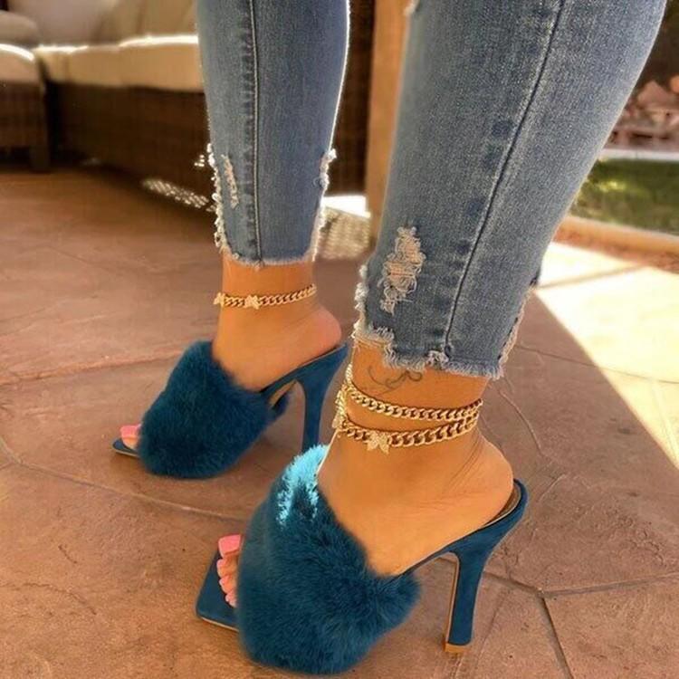 Katı Peluş Yüksek Topuklu Yaz Kadın Yüksek Topuk Sandlas Kare Toe Seaside Terlik Kadın Rahat Ayakkabılar