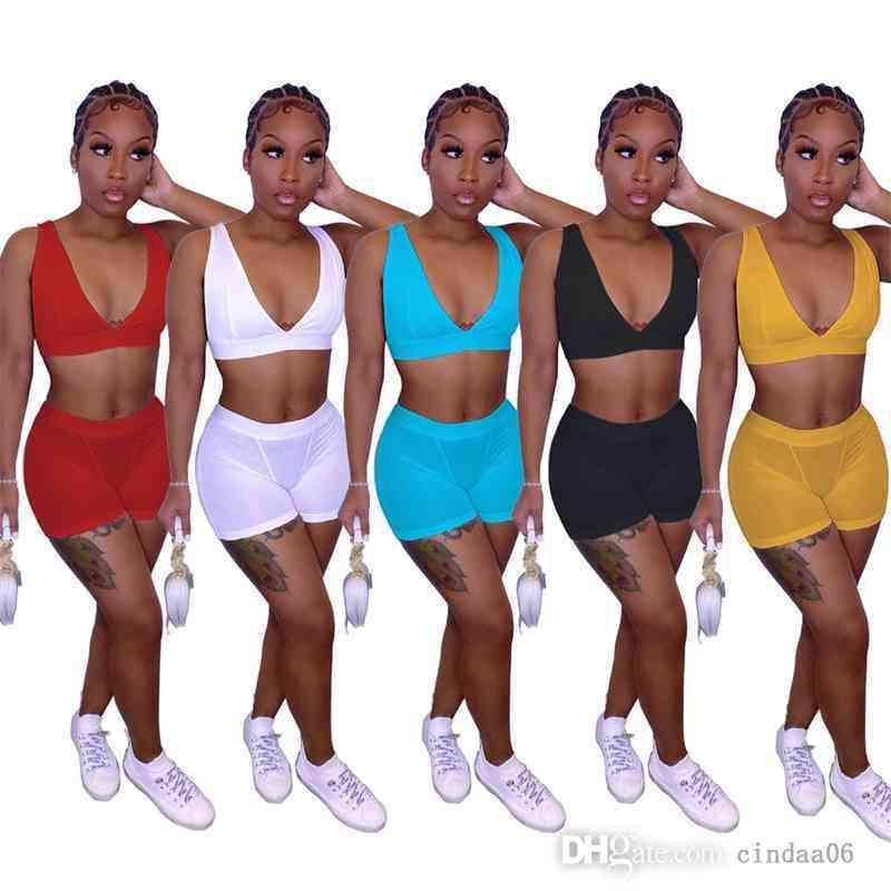 Kadın Eşofman Iki Parçalı Set Moda Rahat Kıyafetler Seksi Gece Kulübü Ince Spor Yelek Şort Takım Elbise