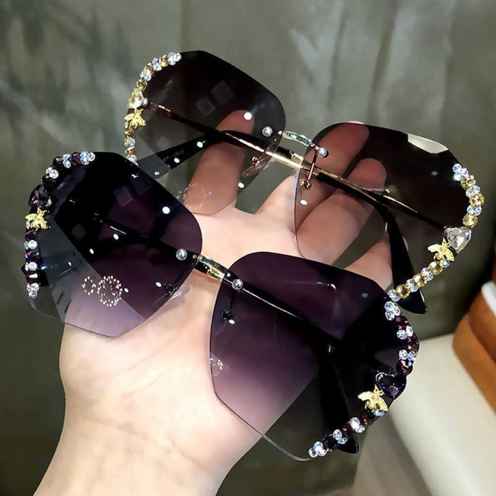 Высокое качество ретро роскошь Wanghong GM новые солнцезащитные очки Корейский мода анти ультрафиолетовый женский алмазный пчел большие очки Luxuryno оригинальная коробка