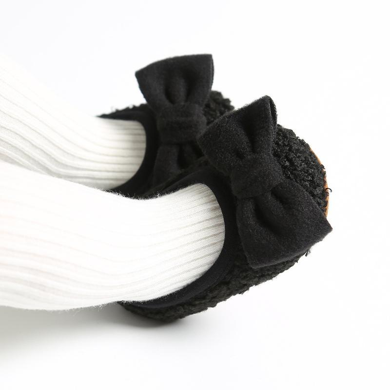 First Walkers Baby Christen Girl Shoes Black Home First-walker Fleece Flats Toddlers Winter Casual Dressy Play Active Bow For Pink Blush