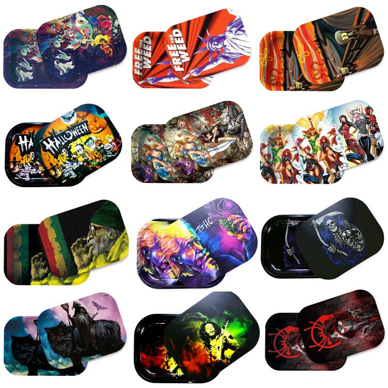 Multi Styles Smoking Metal Rolling Tray with Magnetic Lid 18x14cm Cartoon Tobacco Tin Plate w/ Cover for Cigarette Herb Operation Roll Trays Storage Plates