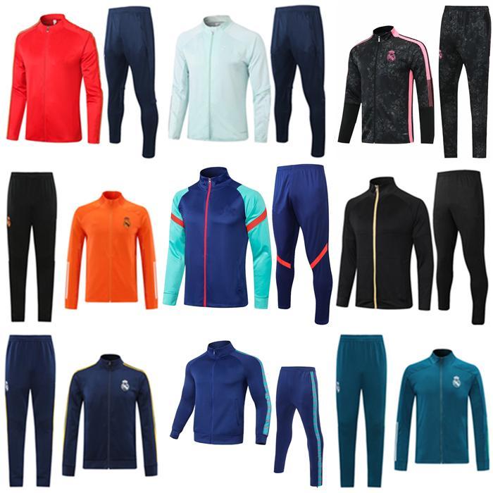 20 21 22 Erkek Futbol Ceket Eşofman Veste 2021 2022 Gerçek Madrid Tehlike Survêtement Futbol Ceketler Eğitim Takım Elbise Uzun Pantolon Chandal Spor Giysiler