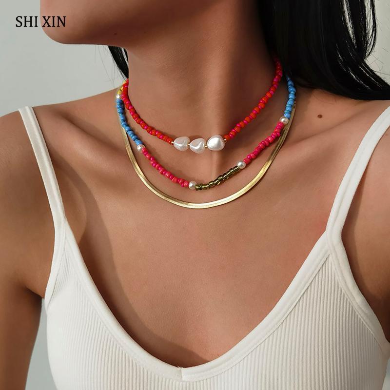 3 stücke Boho Rainbow Kleine Perlen Choker Kragen Halskette Für Frauen Mode geschichtete Perle Schlangenkette Set 2021 Schmuck Chokers