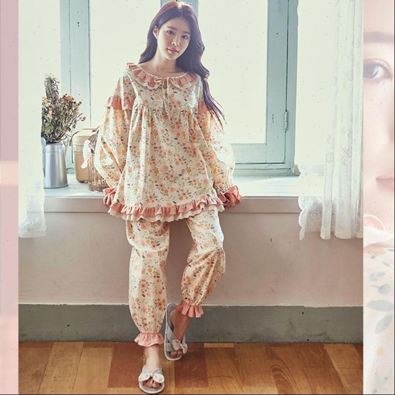 Reiner Baumwolle Pyjamas Set Womens Sleepwears Süße Prinzessin Vollarm Top Hemd Hose Mama Lose Koreaner Stil Kpacotakowka