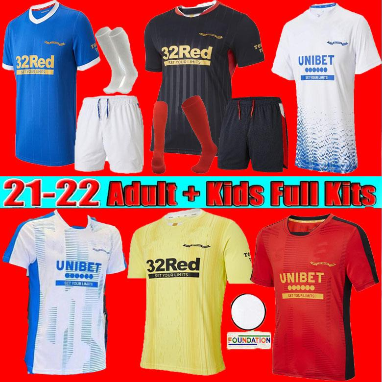 Hommes + Kids Kit 21 22 Rangers 150e anniversaire Jersey de football 2021 2022 Home Glasgow Formation Champions Defoe Hagi Barker Morelos Tavernier Butther Shirt de football