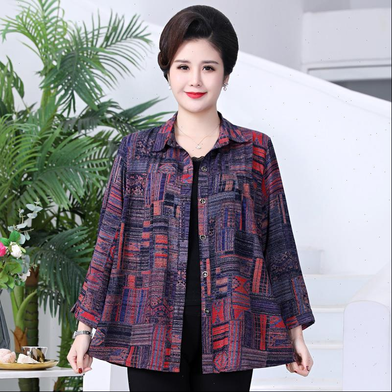 Plus Size XL 7XL Womens Blouses Middle aged Summer Casual Printing Tops and Loose Vintage Women