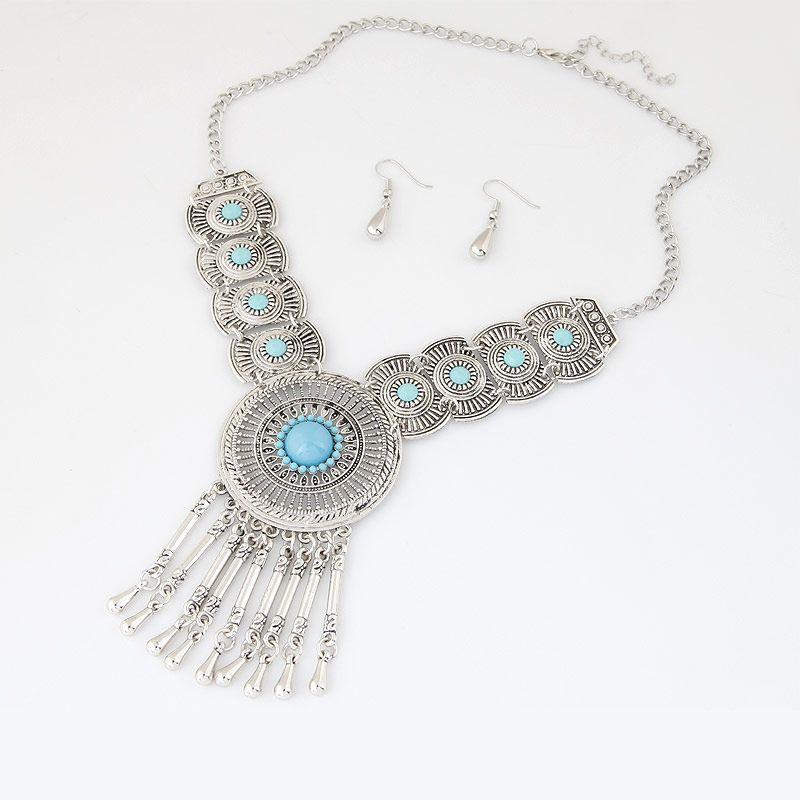 Círculo nupcial de la boda parte colgante collar pendientes Joyas Conjuntos de joyería para mujeres WMTCug Otsweet 703 Q2