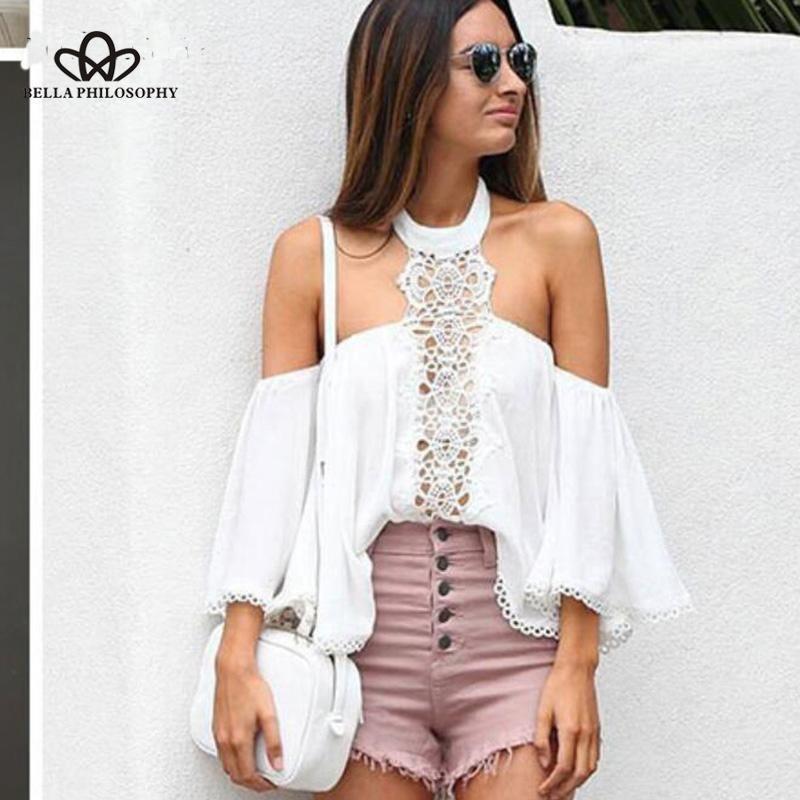 Chance un holter holter dentelle floral broderie blouse blouse blanc creux blanc blusas sexy flare manchon casual chemises choisies femmes