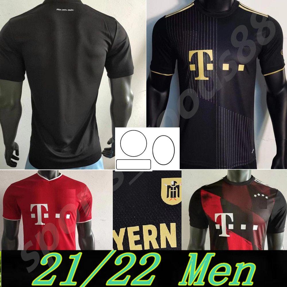 2021 2022 Versão do jogador Bayern Jerseys de futebol Sane Zirkzee Goretzka Muller Tolisso Lewandowski Upamecano Munique Coman Kimmich 20 21 22 Camisa de Futebol