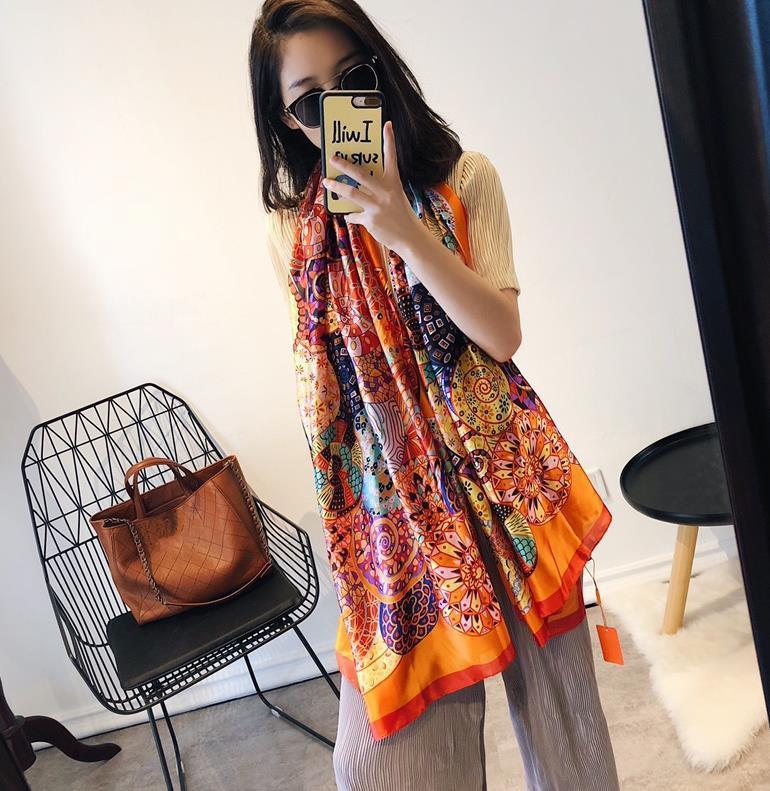Designer Silk scarf Pashmina for Women Big size Spring Summer Orange FLoral Printed Long Scarves Scarfs Wrap 180x90Cm Shawls S230