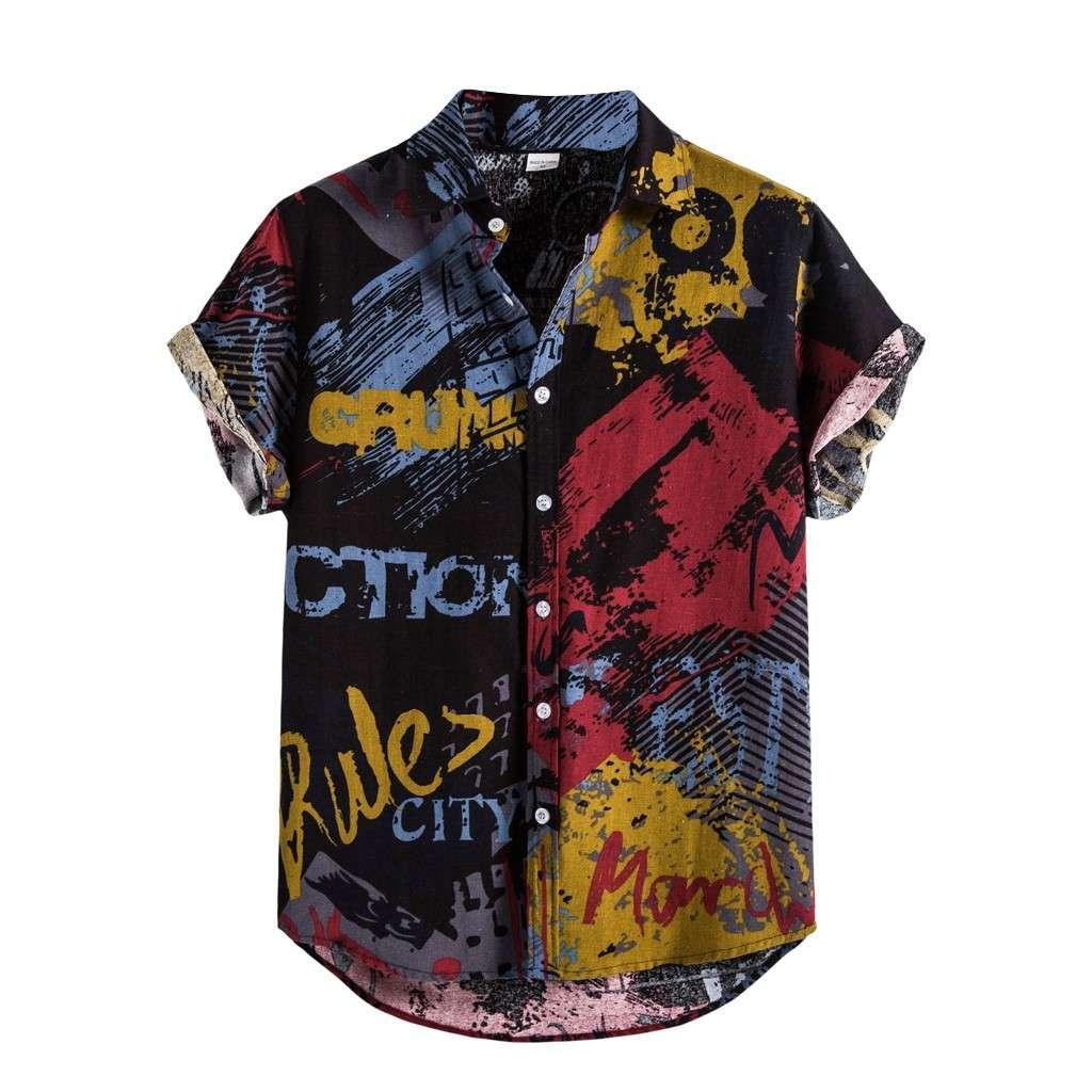 4 # Männer Chemise Homme Herren Leinen Ethnische Kurzarm Hemden Hemden Druck Hawaiianische Bluse-Hemd