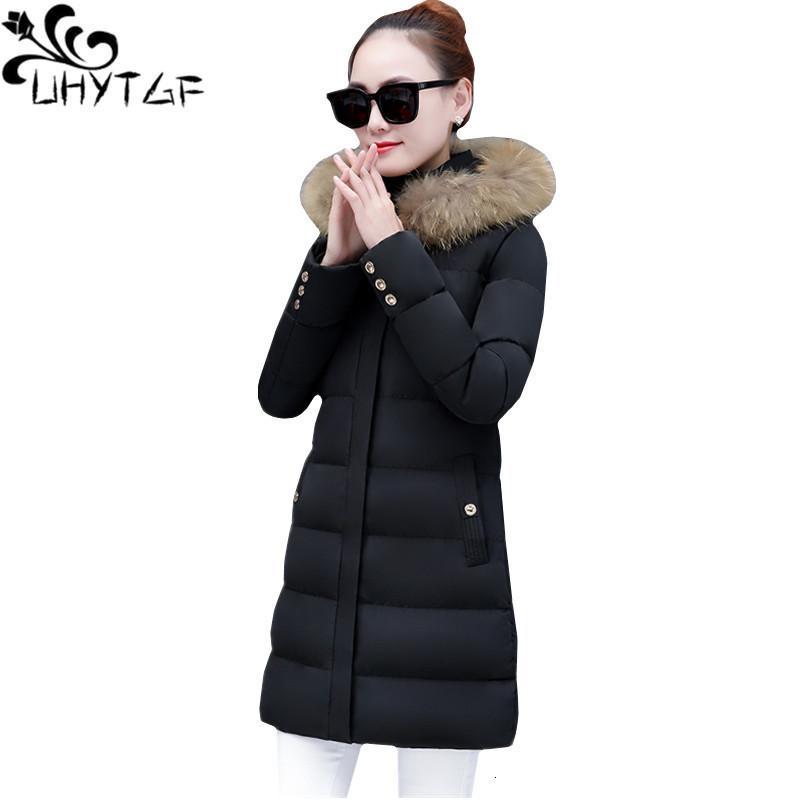 Uhytgf Fashion Nouveau Winter Femmes Parka Manteau Slim Femelle Jacket longue Down avec collier de fourrure Overcoats PLUS Taille 1051