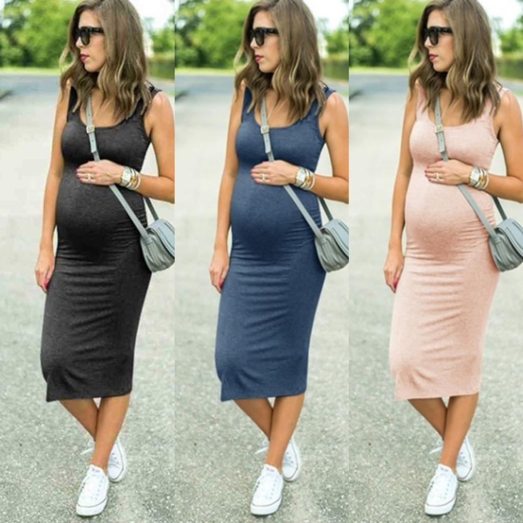 Fashion Dress Pregnant Clothes One-piece Summer Skirt Dresses Maternity Round Neck Elastic Waist Strap Skirts Comfortable Soft Fabric sale G73RWL0