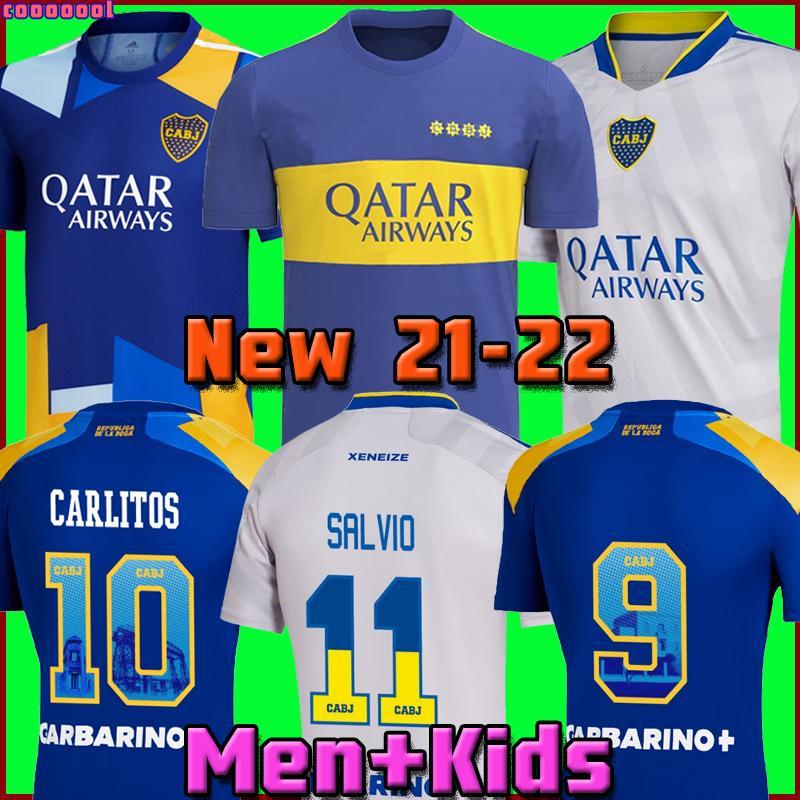Boca Juniors 21 22 22 Jersey de futebol 2021 2022 Carlitos Maradona Tevez de Rossi Moura Reynoso Terceira casa Away 3º 4º Tailândia camisa de futebol homens e crianças conjuntos uniforme