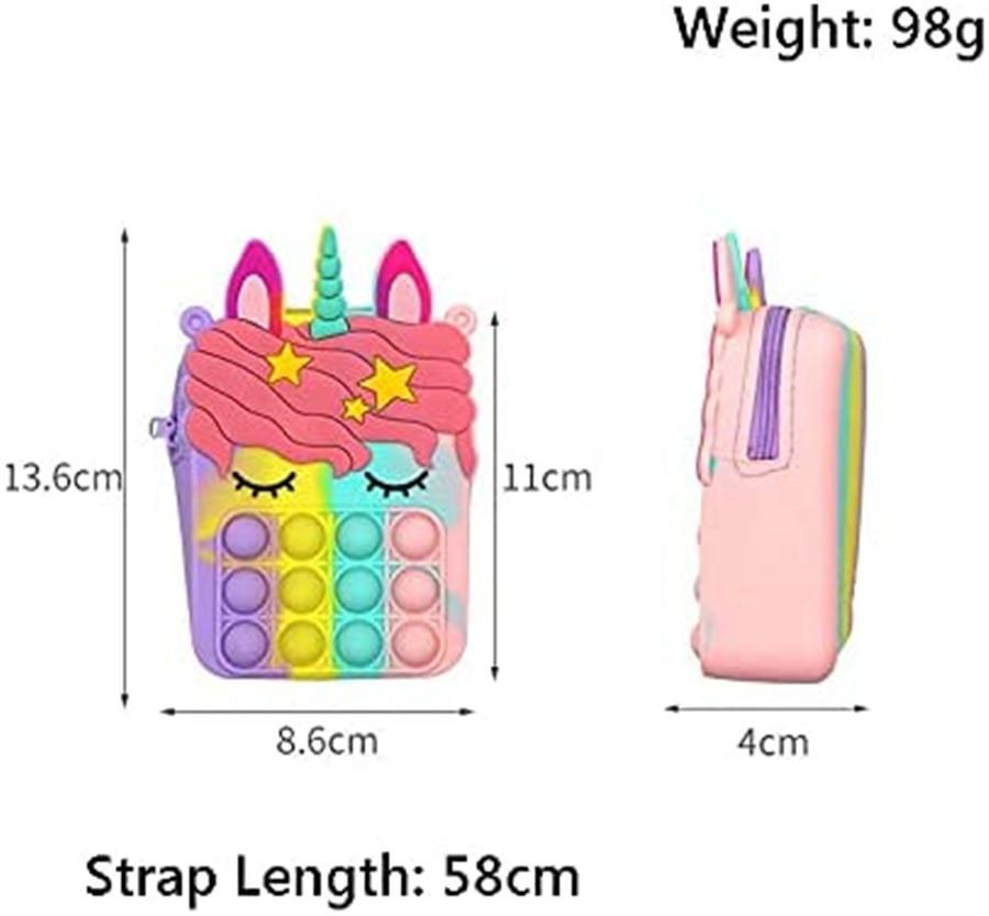 실리콘 동전 지갑 감압 장난감 푸시 Fidget 다채로운 유니콘 모양의 가방 피우퍼 버블 Fingertip Sensory 장난감 어린이 선물