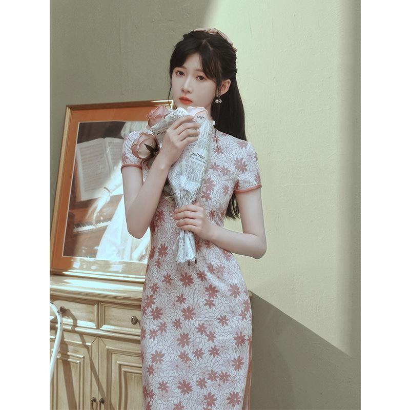 Chinese Traditional Costumes Pink Print Rayon Cheongsam Women Tight Bodycon Sexy High Split Dress Vestidos Ethnic Clothing