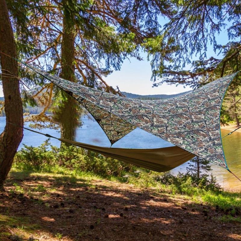 Shade Hammock Tent Tarp Waterproof Sunshade Camouflage Triangle Outdoor Hiking For Camping Backyard Travel