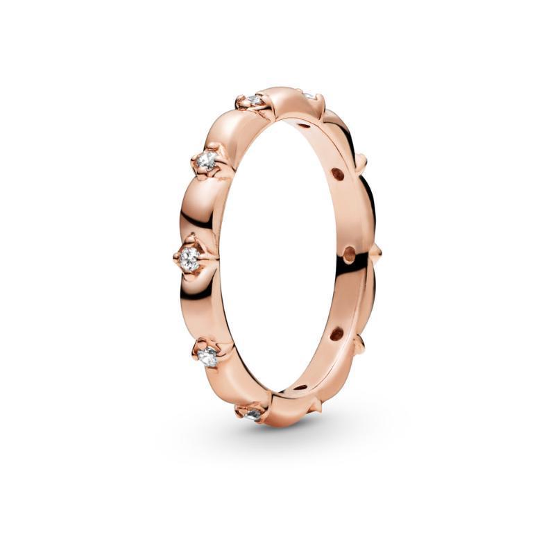 Cluster Ringe Rael 925 Silber Ring Rose Gold Blume Blütenblätter Band Für Frauen DIY Schmuck Mode Geschenk