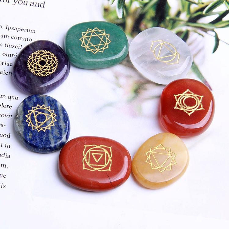 Kunst Natürliche Kristall Reiki Chakren Heilungsteine Multi Color Achat Indien 7 Chakra Stein und Mineralien
