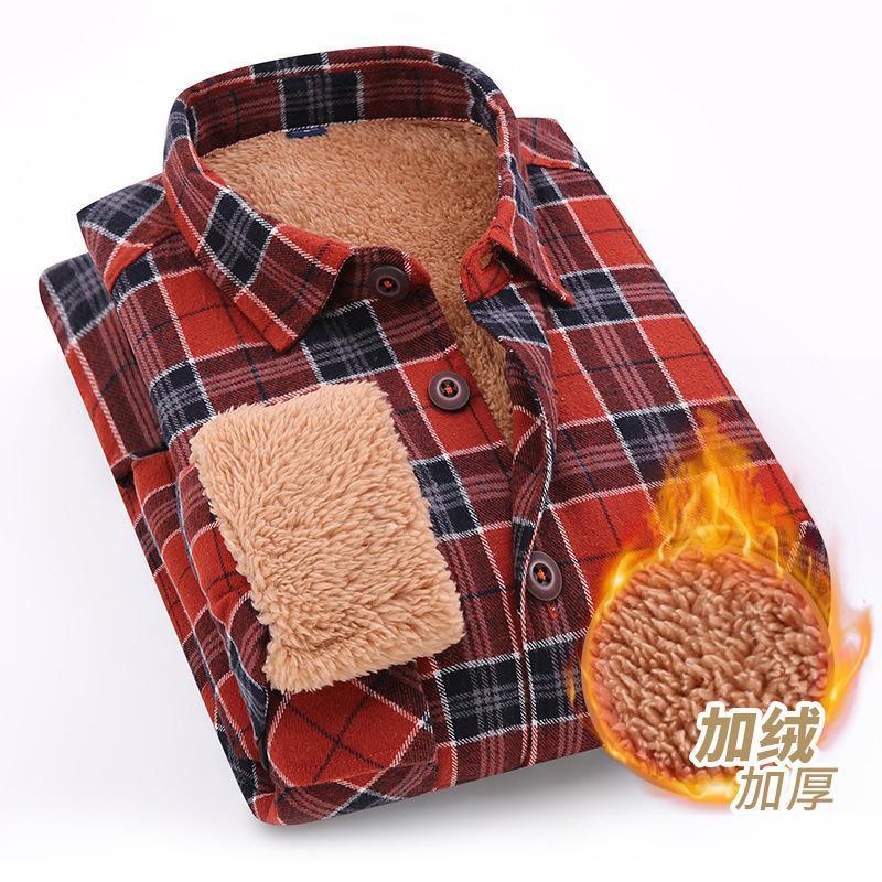 남성 셔츠 2021 봄과 여름 면화 일본 트렌드 컬러 매칭 체크 무늬 양고기 양모 두꺼운 따뜻한 캐주얼 셔츠