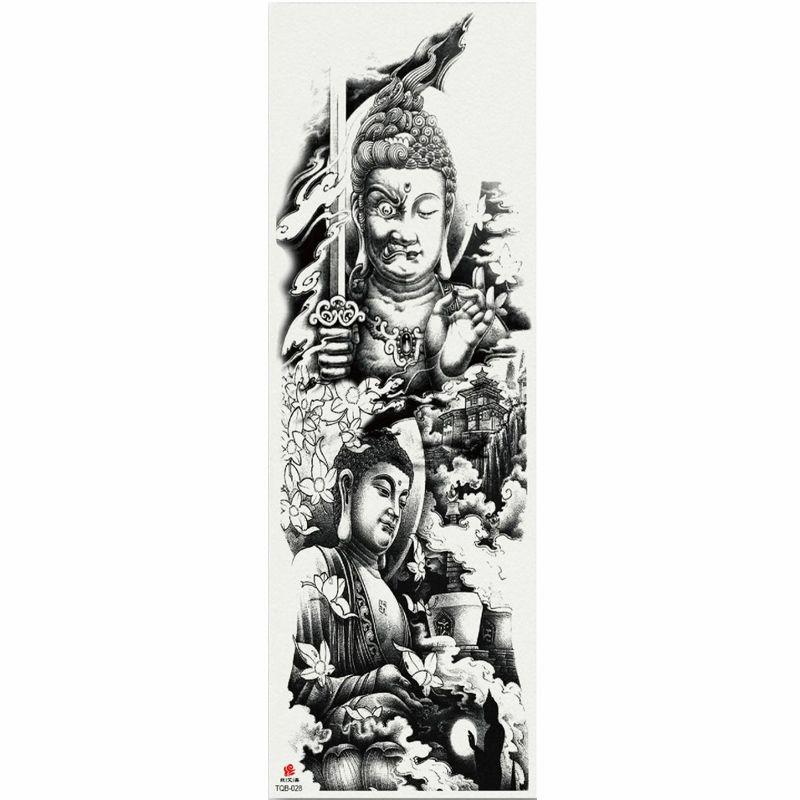 1 pièce Bouddha Statue Autocollant de tatouage temporaire avec bras d'arbre Body Art Big Manches Grand Fake Sticker Tatouage