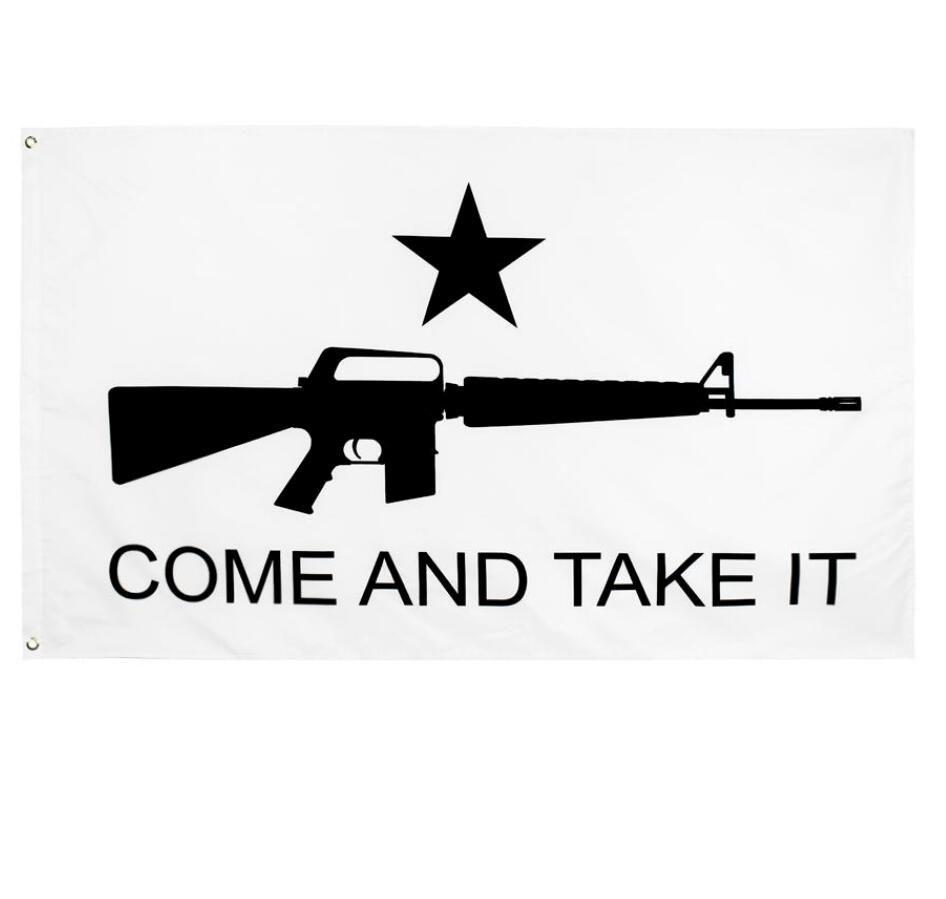 DHL 50pcs directly factory wholesale 90x150cm 3x5fts Gonzales Historical m4 carbin gun molon labe come and take it flags banner
