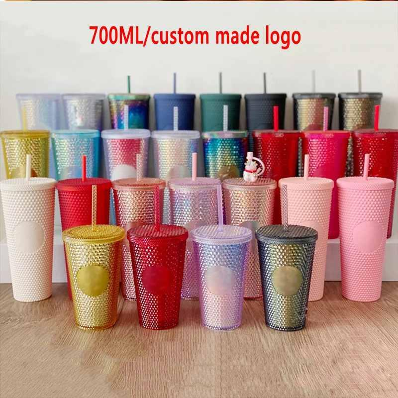 Stock Fast delivery 24 oz Personalized Starbucks Iridescent Bling Rainbow Unicorn Studded Cold Cup Tumbler coffee mug with straw Logo