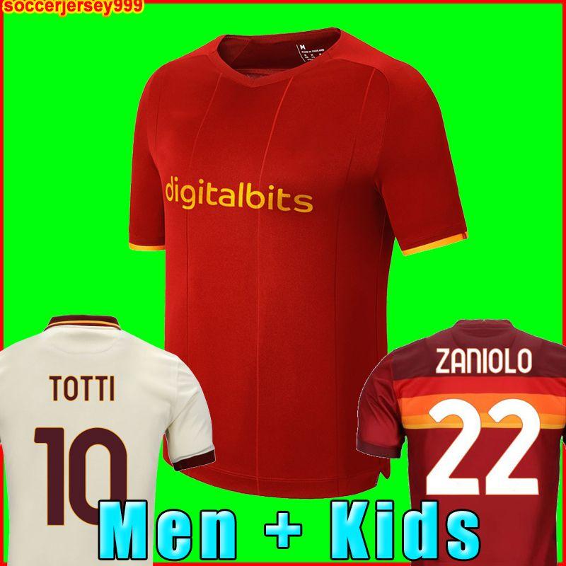 Soccer jersey ZANIOLO ROMA DZEKO PASTORE rome TOTTI KLUIVERT KOLAROV AS 21 22 football shirt 2021 2022 Men + Kids kit uniforms maillot 999