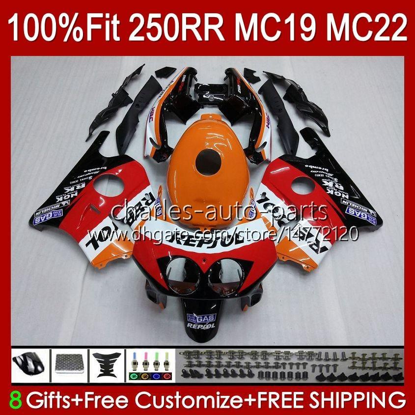 Honda CBR250RR MC19 1988-1989 CBR 250RR 88 89 112HC.13 CBR250 RR CC 1988 1989 Bodywork CBR 250CC 88-89 OEM 페어링 키트 repsol 오렌지