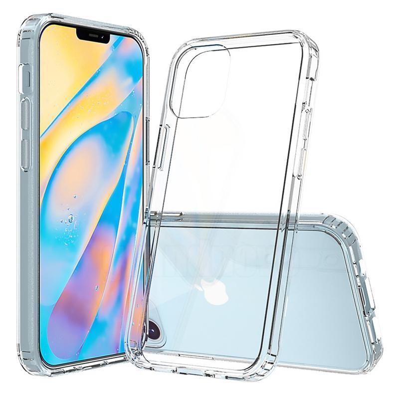 Armadura de canto de canto de ar claro transparente à prova de choque de cristal duro capa protetora de proteção difícil para iphone 13 pro máximo 12 mini 11 xr x 8 7 6 6s plus
