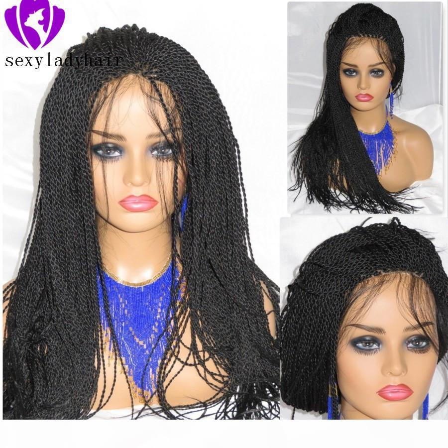 Parrucca anteriore sintetica della parrucca sintetica del merletto della micro piena di 200densità per le donne nere African Africa Avana Havana Twist Parrucca del pizzo con i capelli del bambino