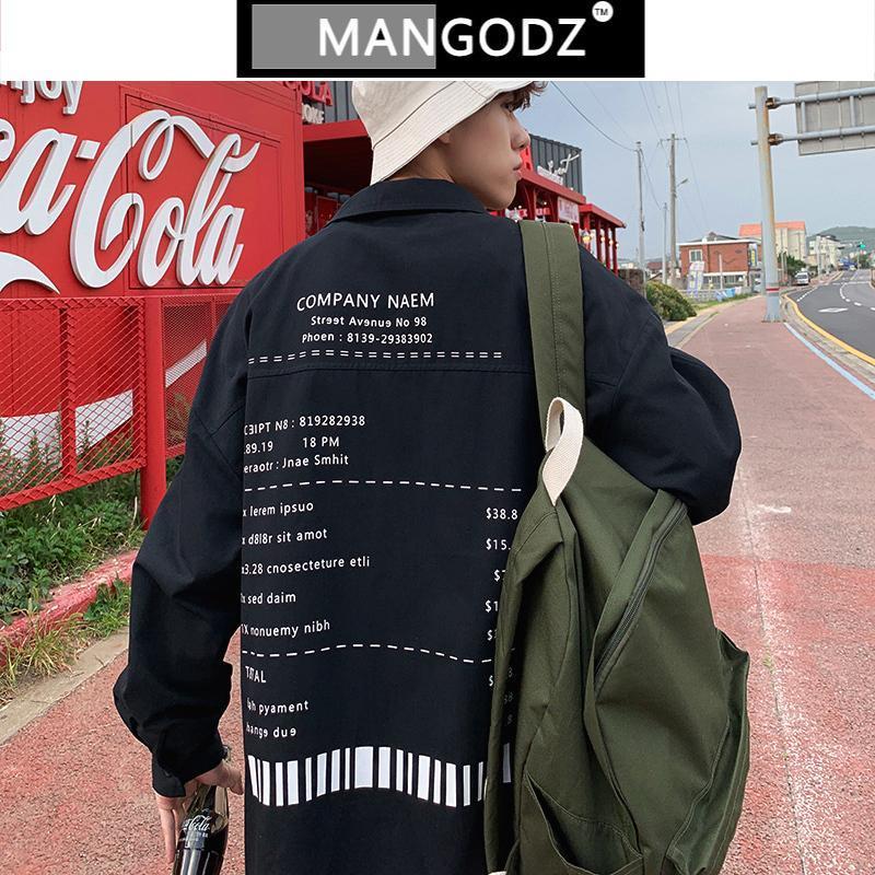 남성용 봄 느슨한 셔츠 2021 남성 의류 전체 편지 캐주얼 긴 소매 Camisa Masculina 버튼 위로 셔츠 플러스 사이즈 남성