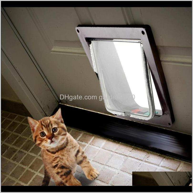 Casas Accesorios de perreras Kimpets Perro Lockable Cat Mascotas Seguridad Puerta Puertas Puertas Rampas Universal para todo tamaño R044B 3MXNE