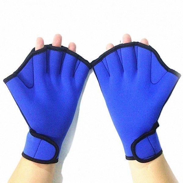 1 Paar Nylon Schwimmflossen Halbe Fingers Schwimmhandschuhe Hand Webbett Schnorcheln Tauchausrüstung Blaue Schwimmflossen L4BD #
