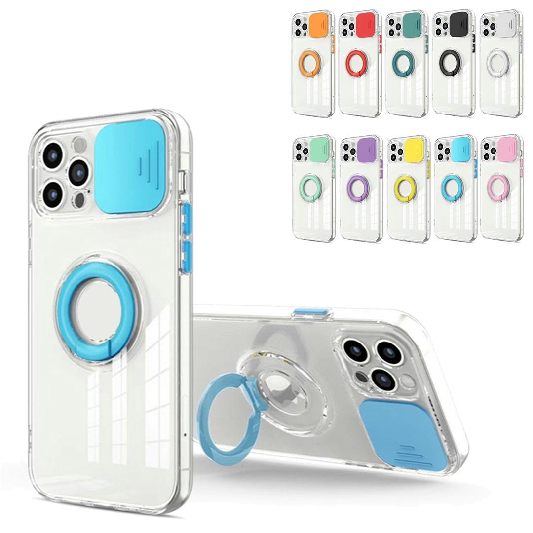 Für iPhone 11 12 PRO XR XS MAX 7 8 PLUS SE2020 Hüllen Objektiv Push Das Fenster Transparente Fingerring Halter Telefonschutzabdeckung