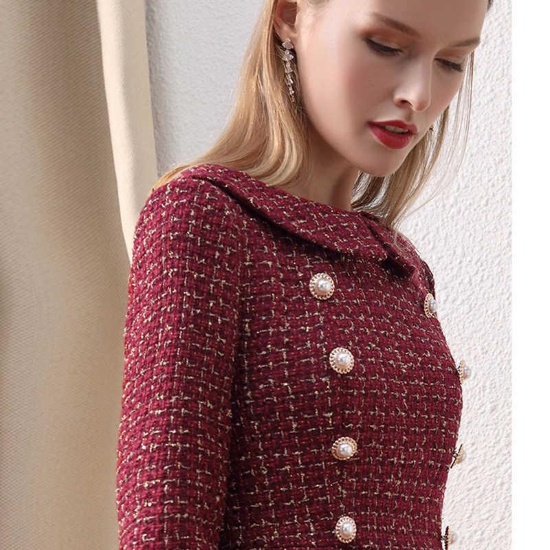 Nur plus Frauen Winterweinkleid Button Up Peter Pan Kragen karierte Vintage Tweed Dress Wein Kleider warmes Kleid Winter 210603
