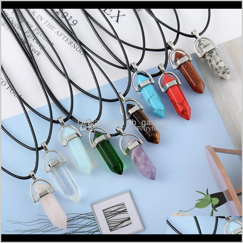 Hexagonal Prism Necklaces For Women Men Natural Healing Crystals Quartz Point Stone Pendant String Rope Chains Fashion 5Uyy3 Yk30W