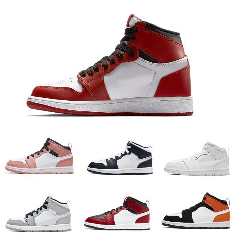 1 Chicago kırmızı yetiştirilmiş basketbol çizmeler çocuk erkek kız çocuk gençlik spor ayakkabı paten sneaker boyutu EUR26-35