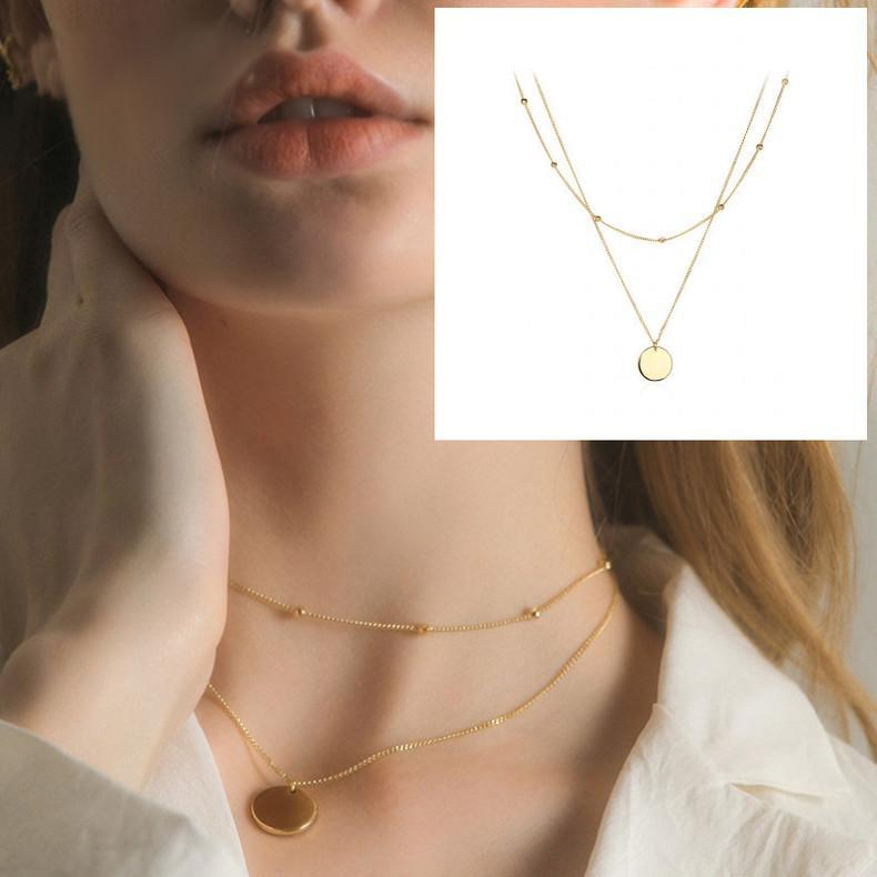 ذهبية جولة قلادة قلادة طبقة مزدوجة للنساء الأزياء والمجوهرات هدايا سلاسل