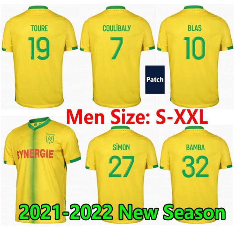 21 22 maillots fc نانت لكرة القدم الفانيلة coulibaly blas 2021 2022 نانتي الرئيسية bamba elond toure limbombe سيمون الرجال الاطفال كرة القدم قميص mailleot de foot