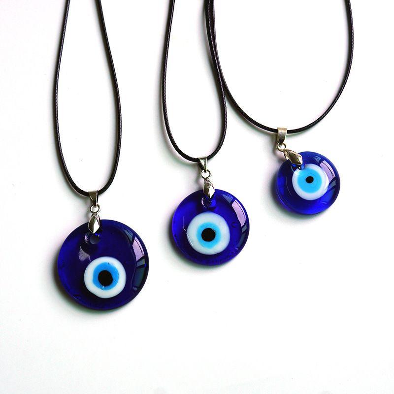 Glas Türkische blaue Augen Anhänger Halskette Wachs Seil Mode Minimalist Wind Mädchen Amulett Urlaub Geschenk Handgemachte Reise Gedenkwürdigkeit