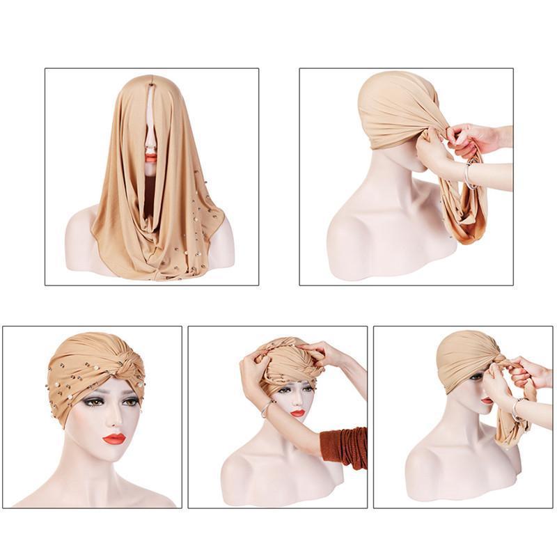 Women Elastic Cycling Turban Pearl Inlay Muslim Hijab Islamic India Caps Beads Scarf Headwraps Knotted Bandana Wrap Head & Masks