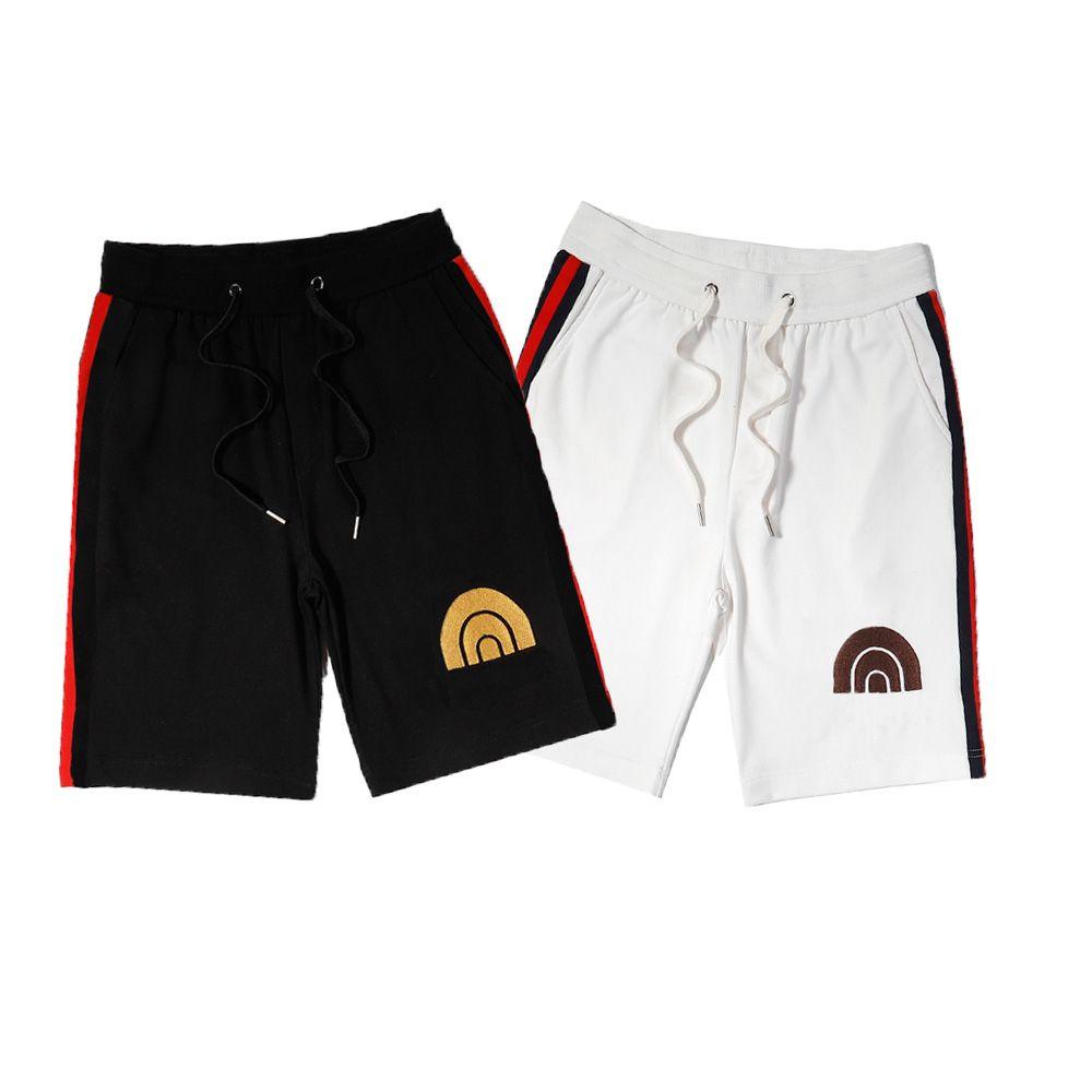 Homem casual shorts homens fishion sportshort joelho comprimento solto relaxado cintura elástica confortável verão bordado tamanho m-2xl homens calças 2021