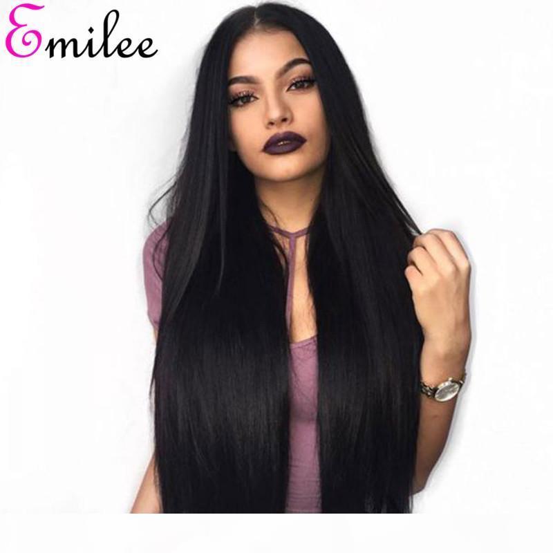 Emilee 360 dentelle perruque droite Remy Human Remy Coiffures Dentelle Perruques pour femmes noires 10-24 pouces Perruque de dentelle de cheveux brésilien 250 Densité
