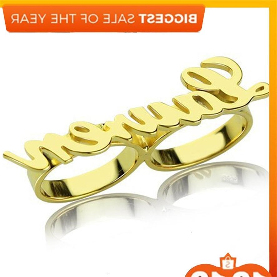 Modified and Simple Double Ring Letter Type Name Custom Cut Jewelry