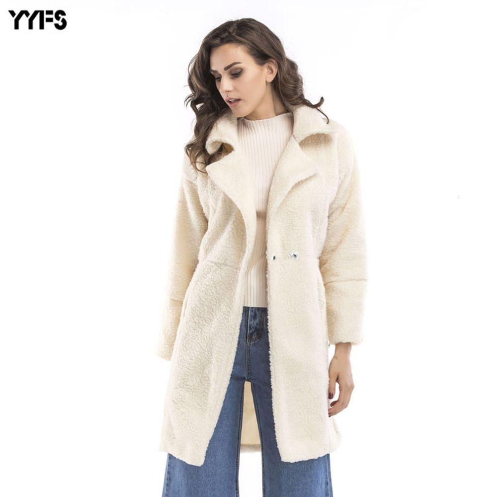 Среднее платье из двух частей Длинные шерстяные пальто для женщин осенью и зимой