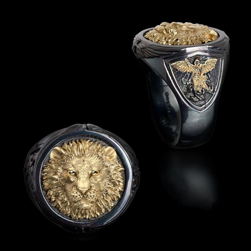 Cool Men's 18K Yellow Gold Two-tone Black Gold Diamond Ring Africa Grassland Lion Ring Men Wedding Party Jewelry Size 7 - 14