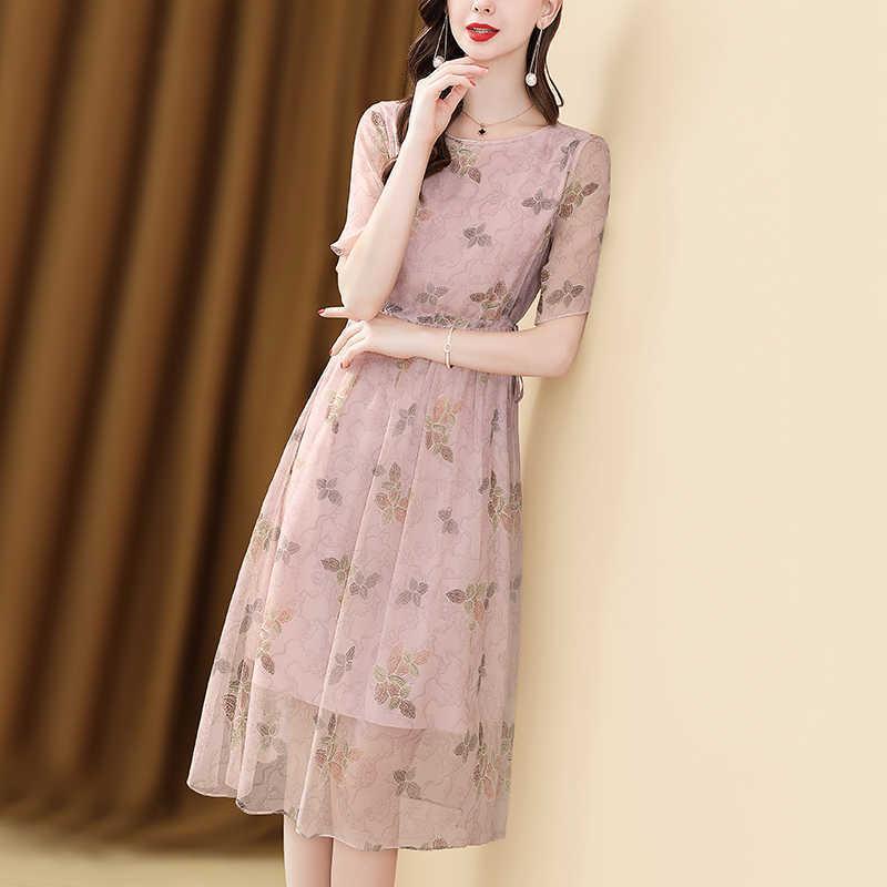 Nur plus Tunnelzug Chiffon Sommer Dreeses für Frauen O Neck Casual Kleid Urlaub Blumenstickerei Kleid Rosa Vestidos 210603