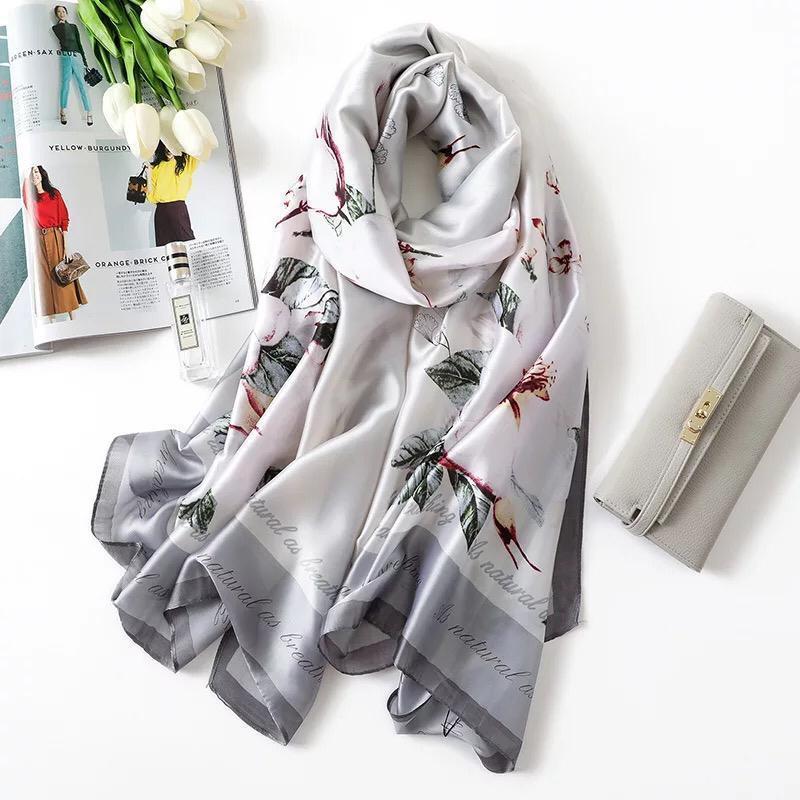 Yulaili semplice eleganza stampata sciarpa di seta femminile estate solare solare sciarpe sottili multifunzionali donne 2021 involucri a molla
